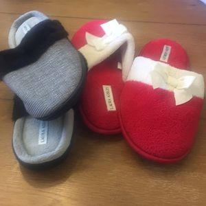 Never Worn 2 Pair Slippers by Laura Ashley (8-9)